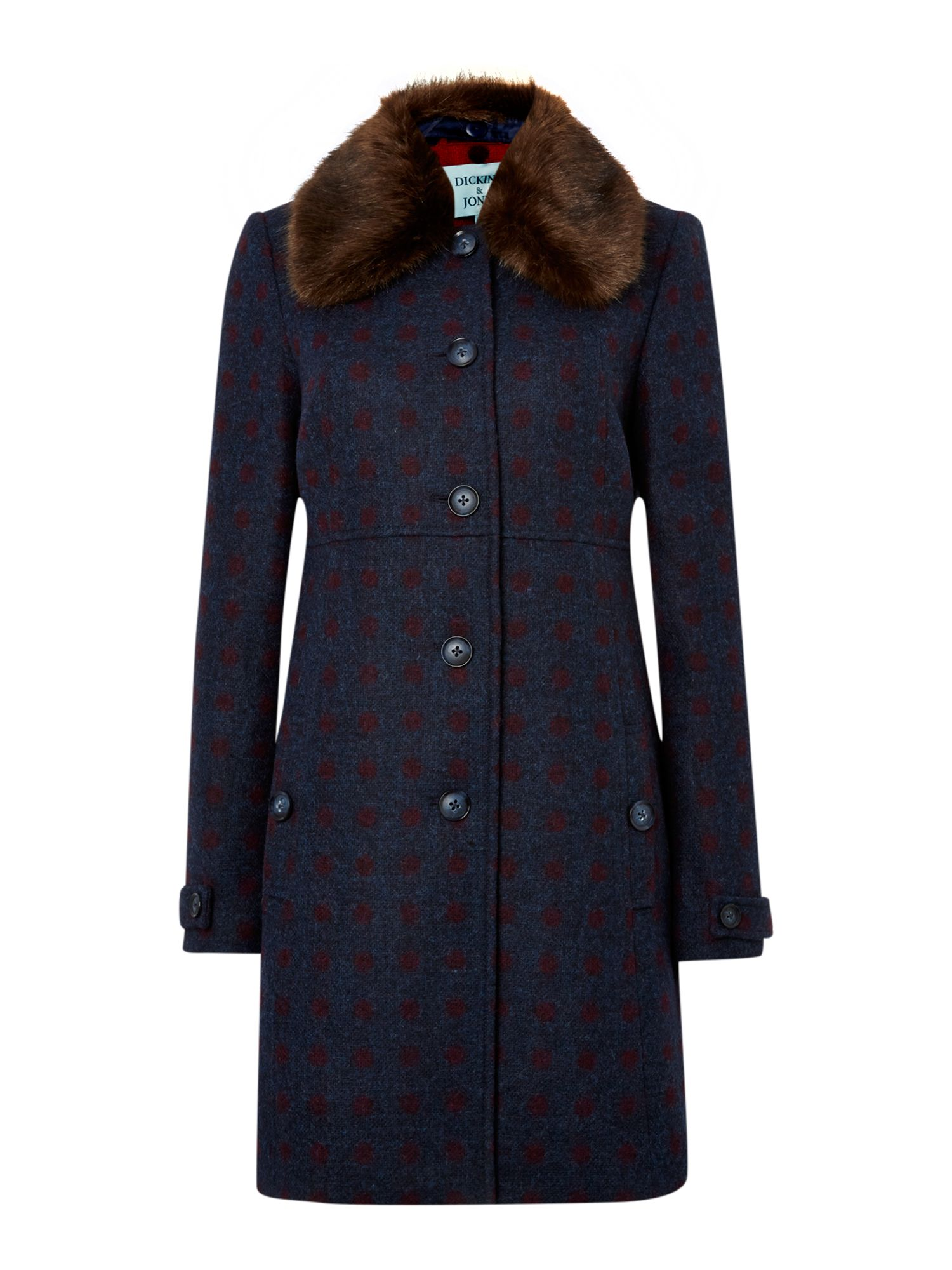 British hampton spot wool faux fur coat
