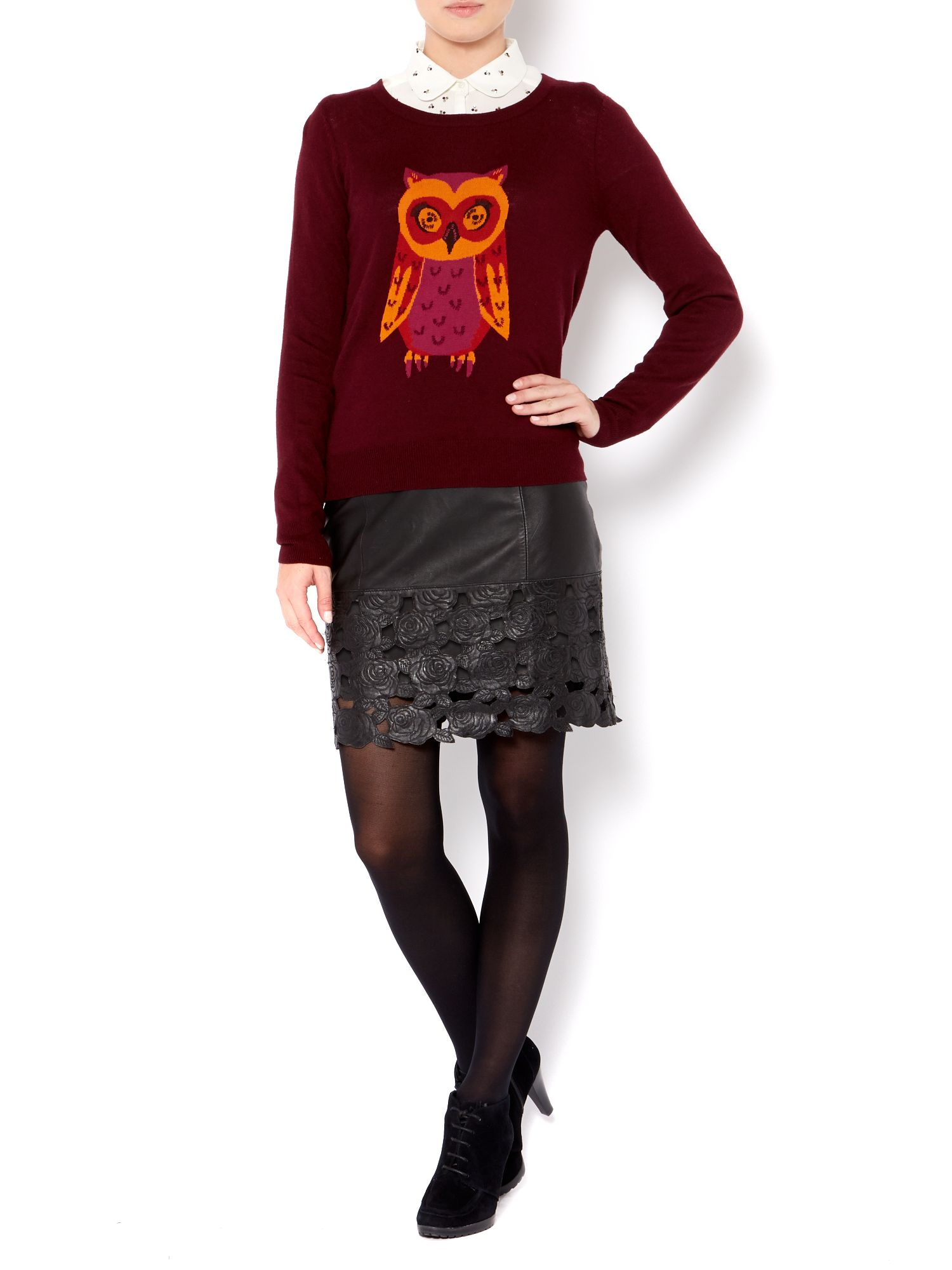 Ladies owl placement knit jumper