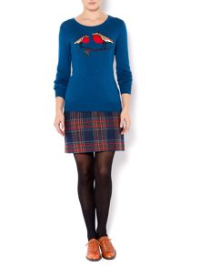 Ladies robin placement knit jumper