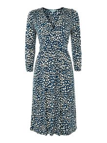 Ladies spot print tie waist jersey dress