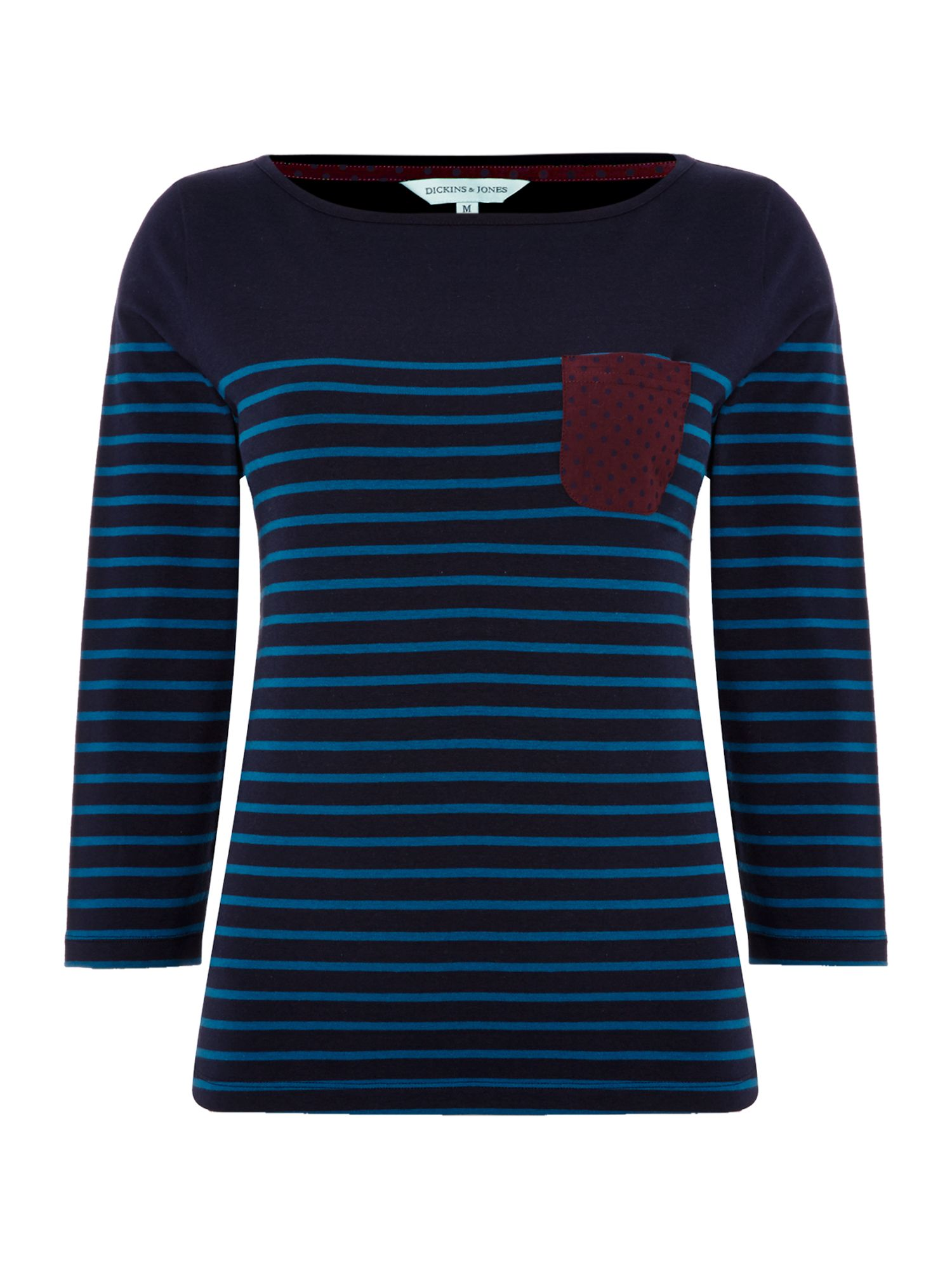 Ladies stripe jersey top with spot woven pocket
