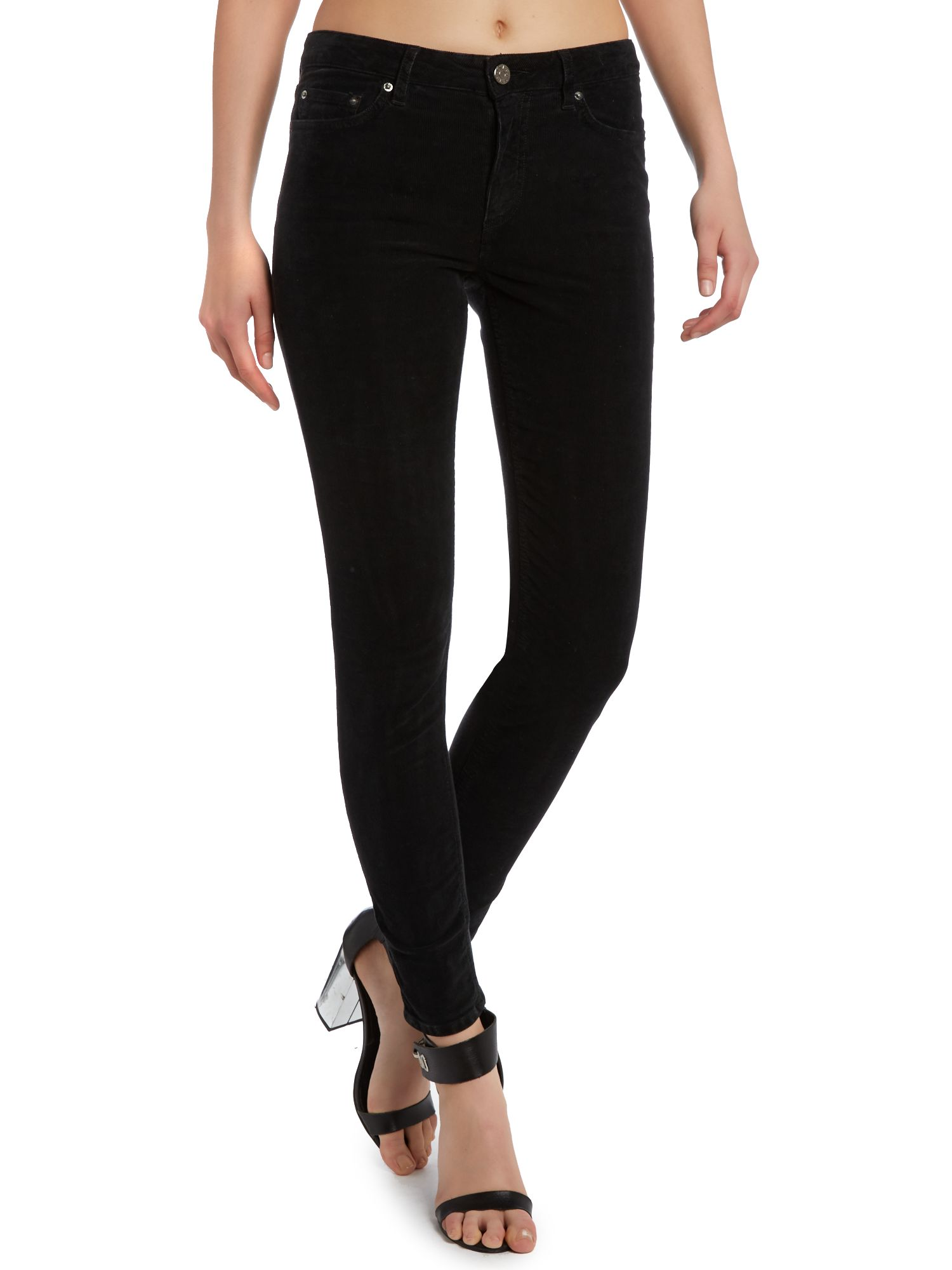 Skin 5 pocket black jeans