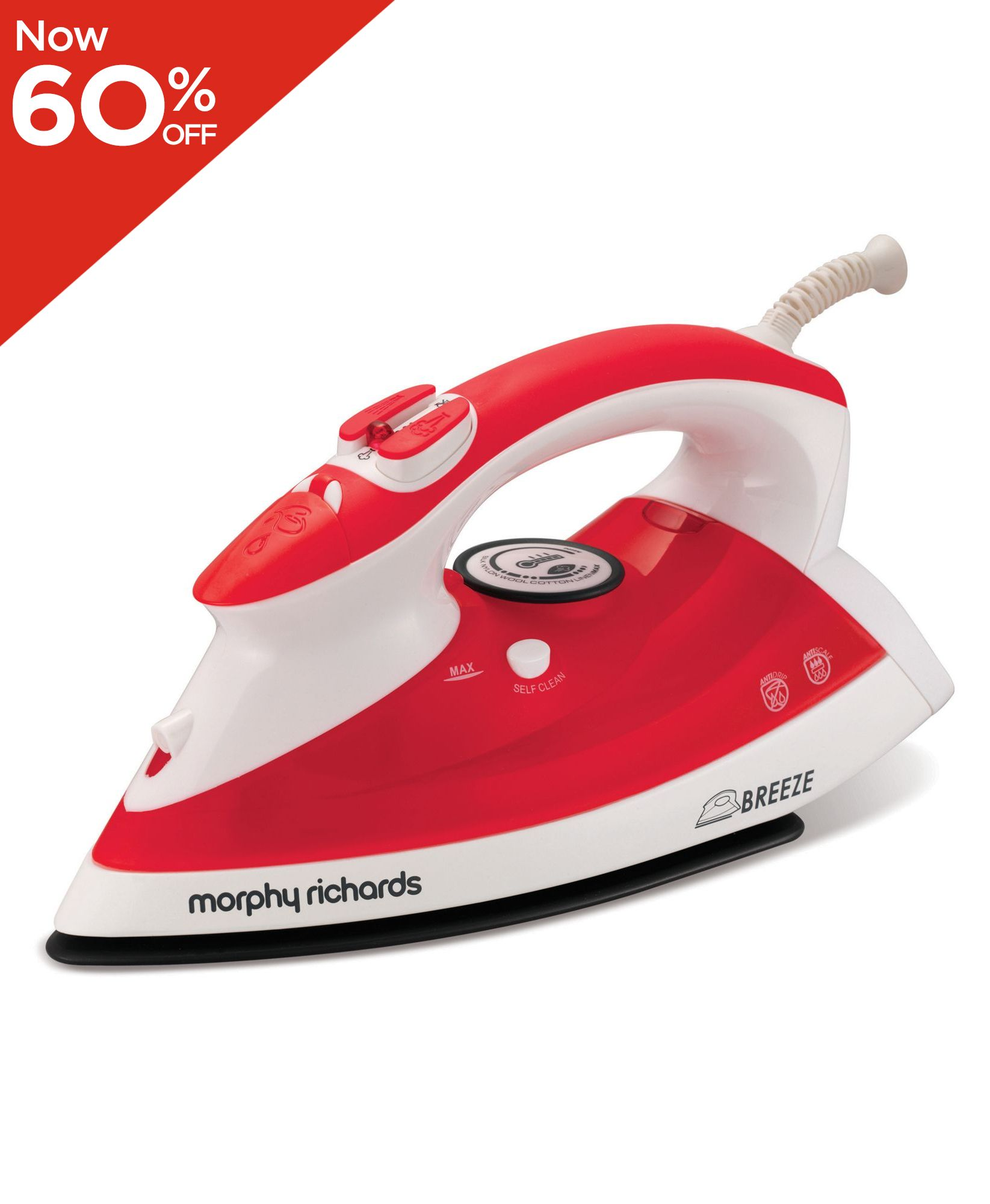 Breeze 2000w steam red iron