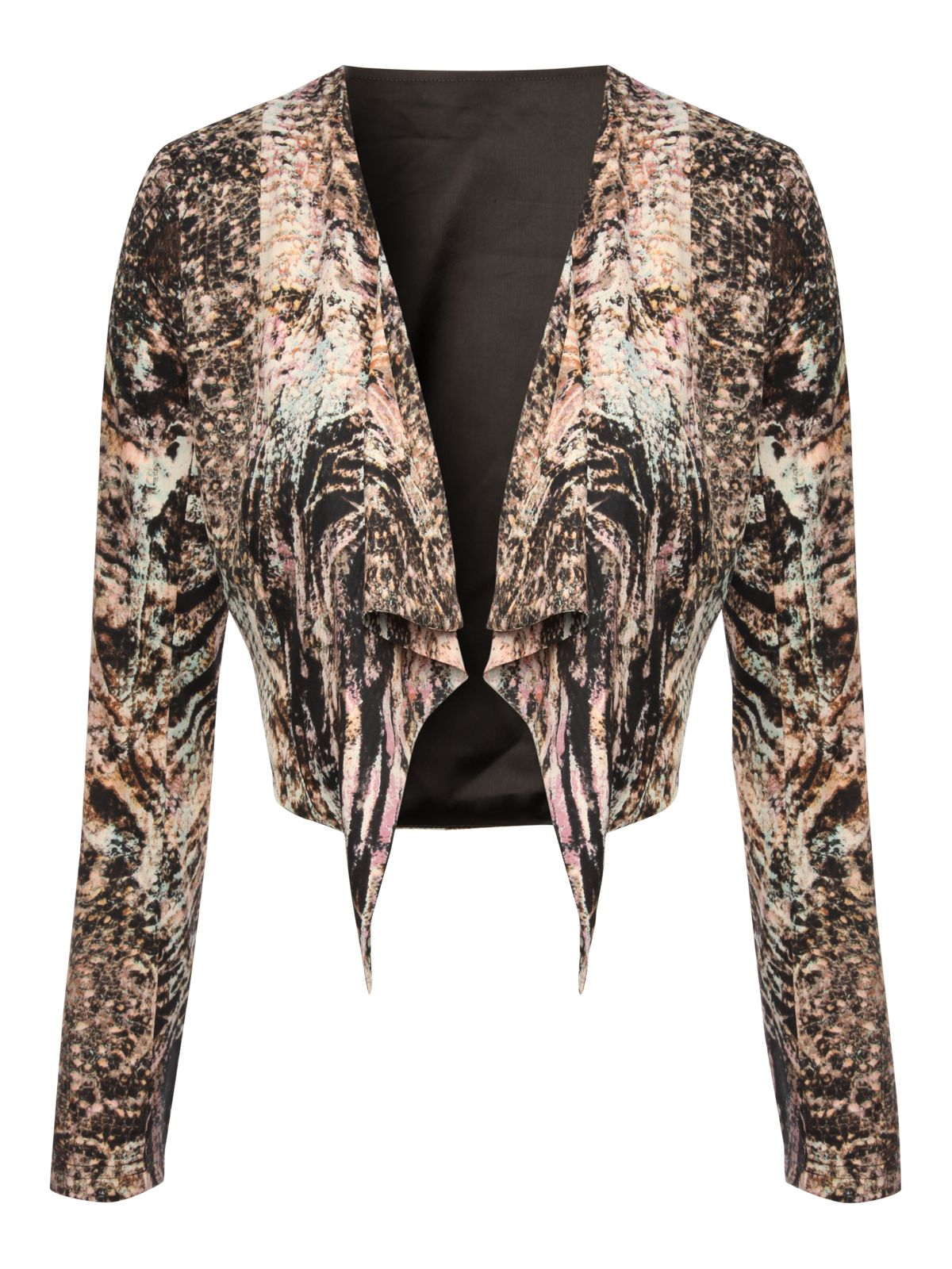 Animal print waterfall jacket