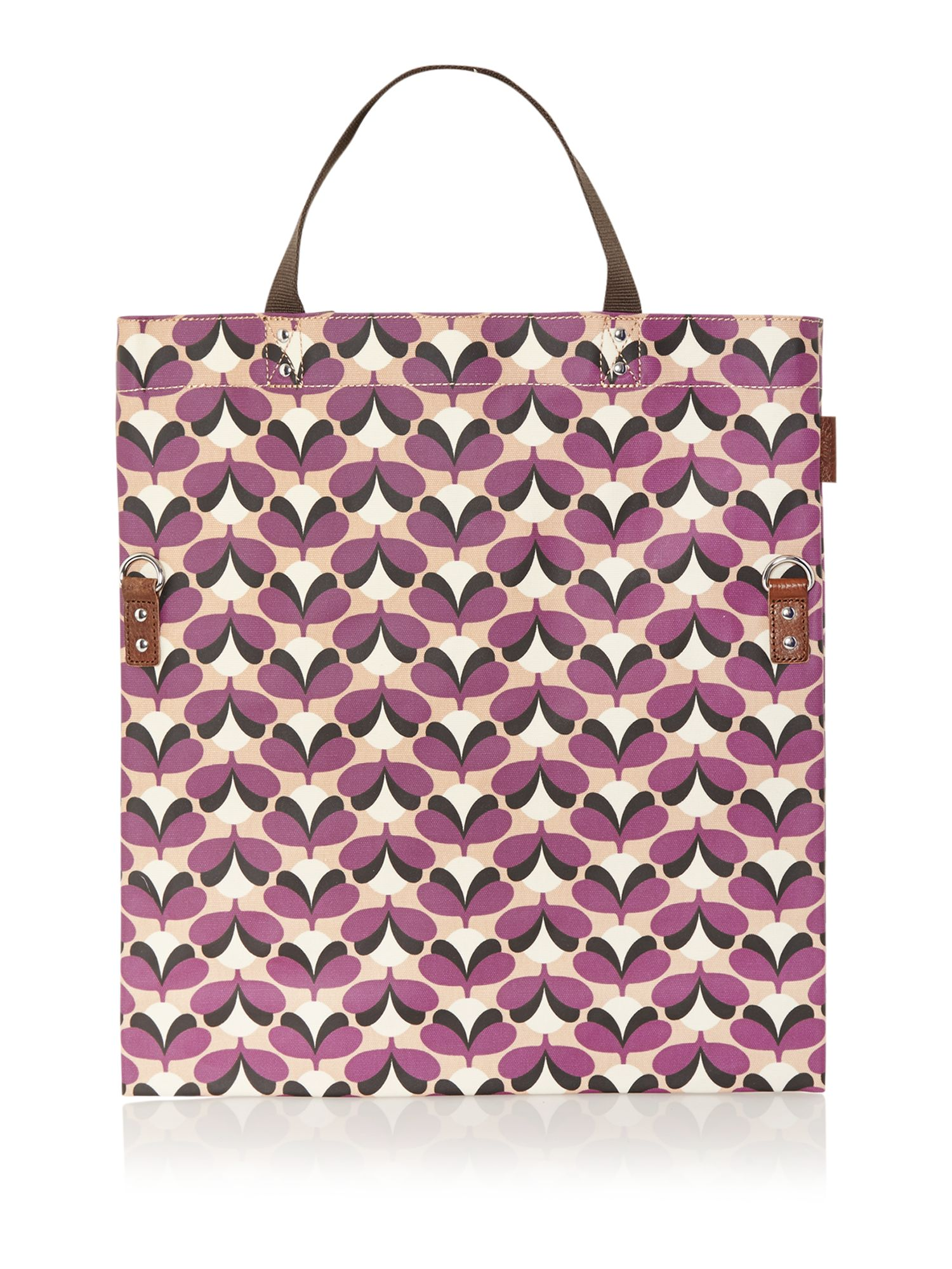 Purple sycamore print tote bag