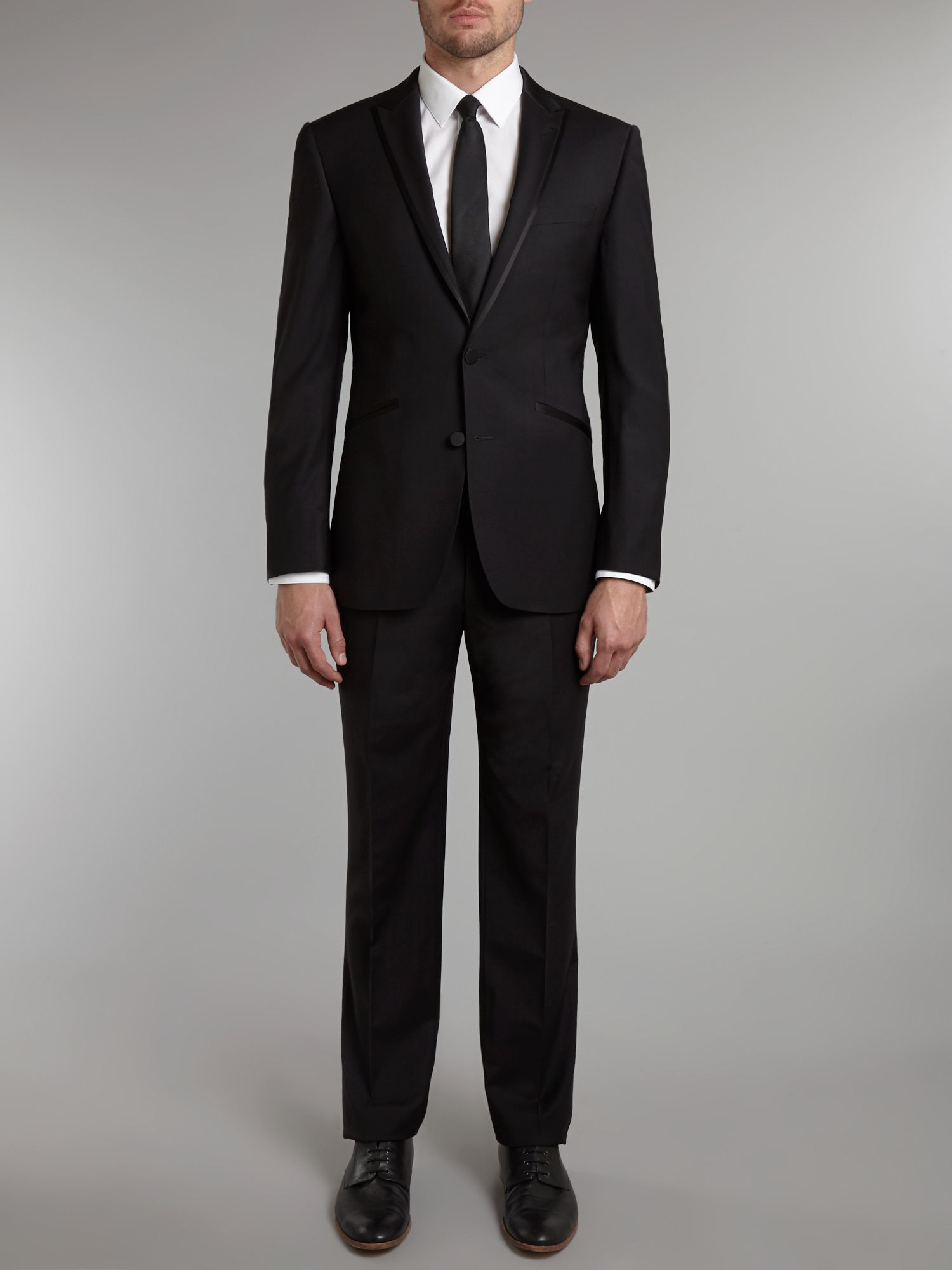 Satin edge slim fit dinner suit