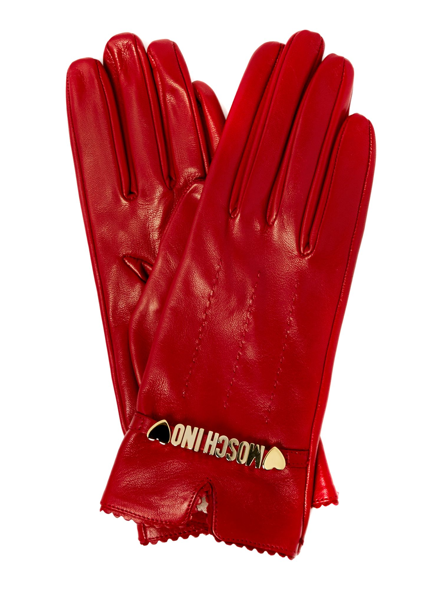 Leather gloves with Moschino detail