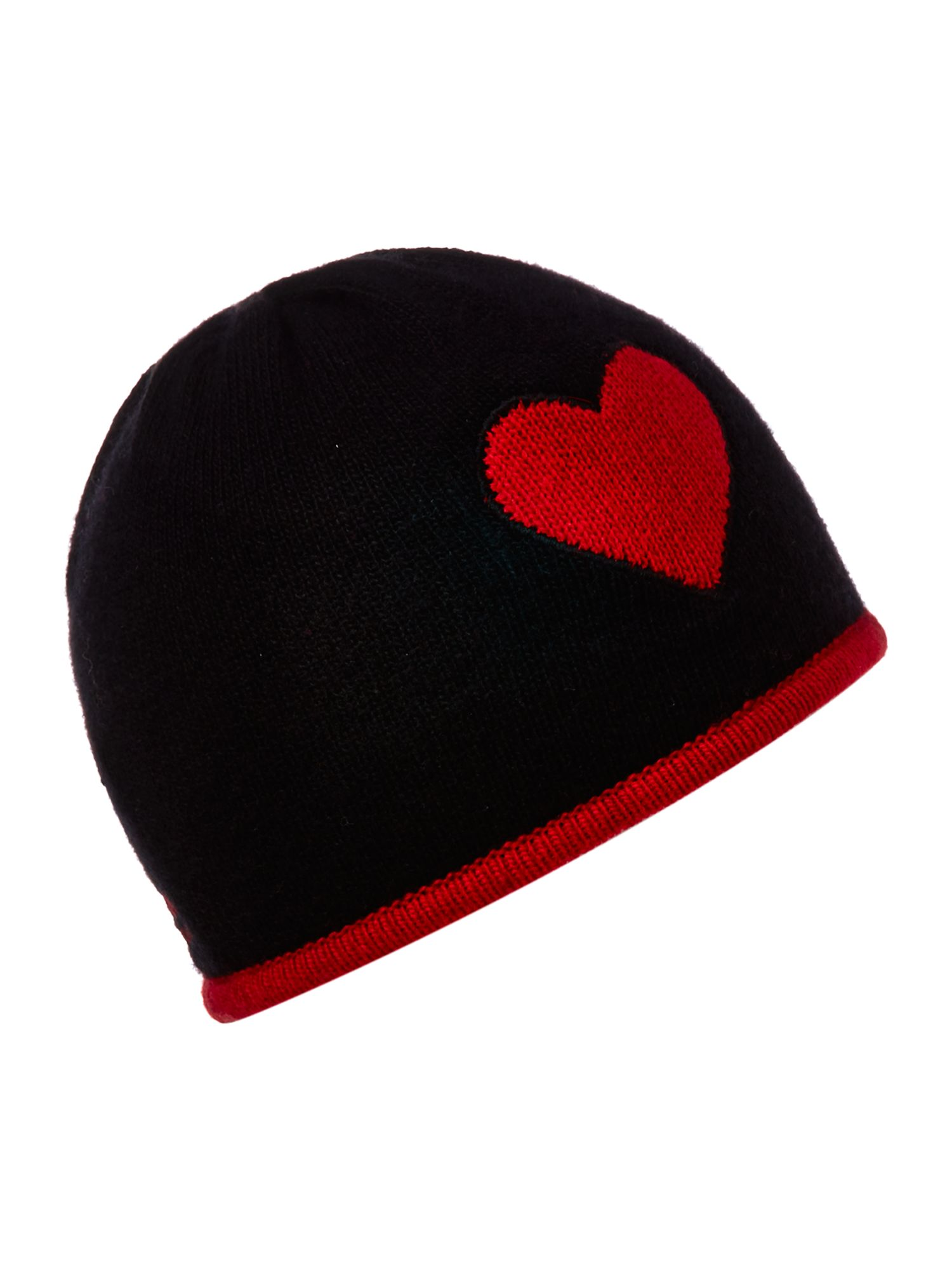 Knitted beanie with heart design