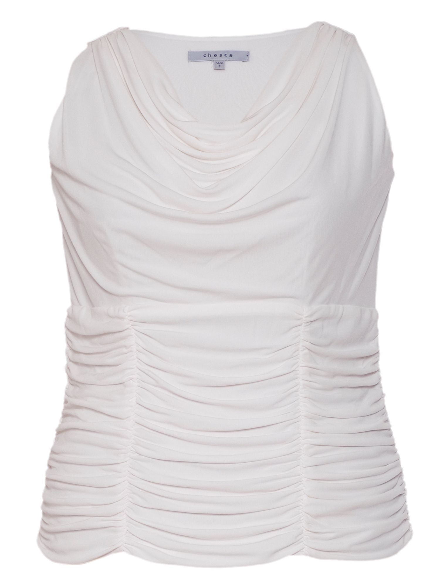 Ruched trim sleeveless jersey top