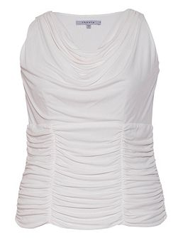 Plus Size Ruched trim sleeveless jersey top
