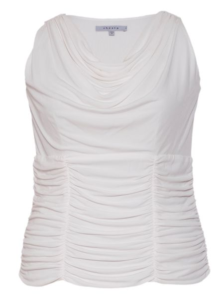 Chesca Plus Size Ruched trim sleeveless jersey top