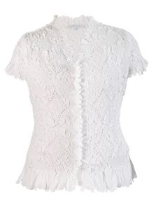 Chesca Laser cut crush pleat petal blouse