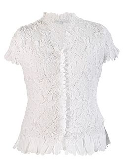 Laser cut crush pleat petal blouse