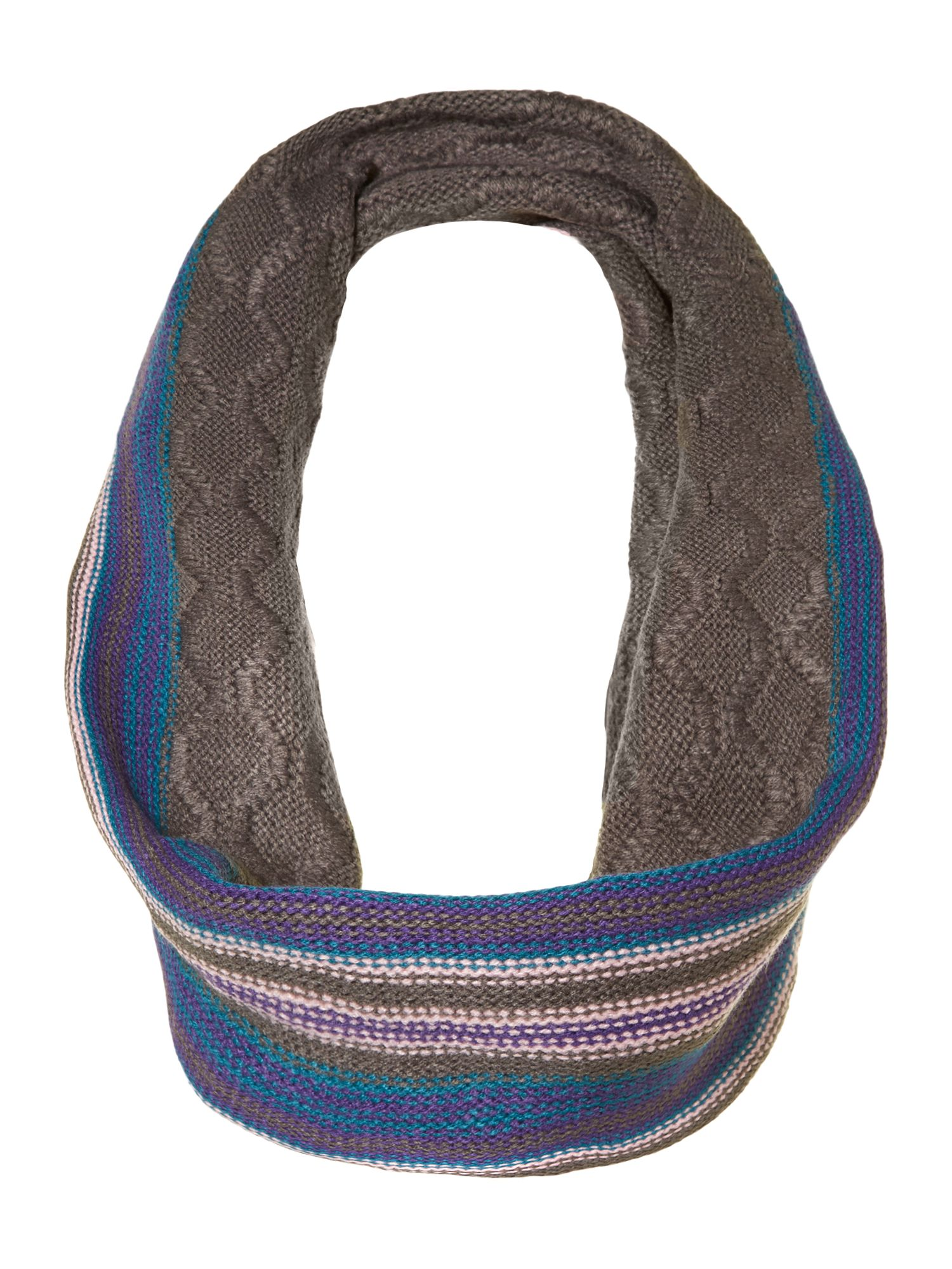 Stripey knitted snood