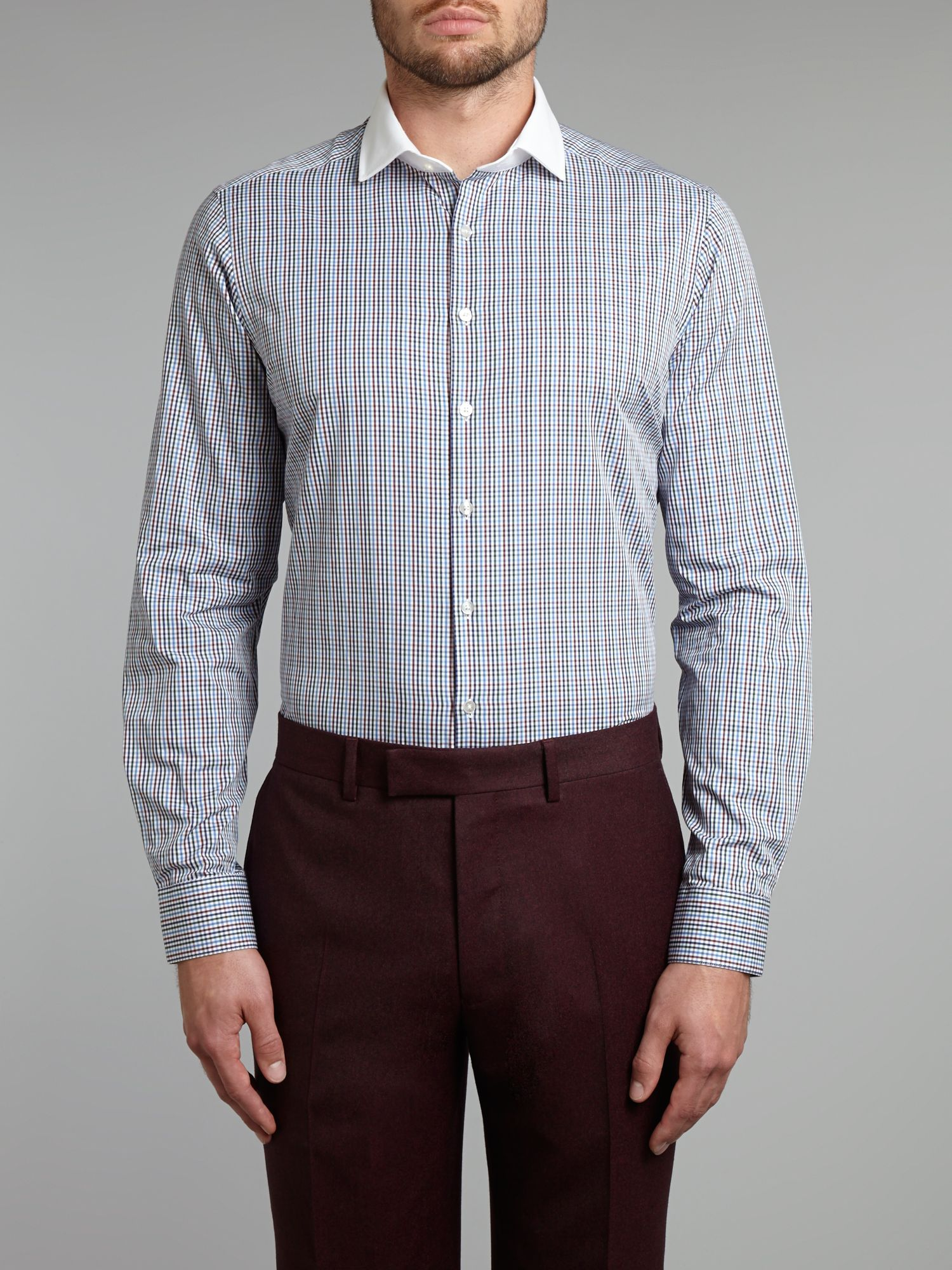 Coloured gingham white collared slim fit shirt