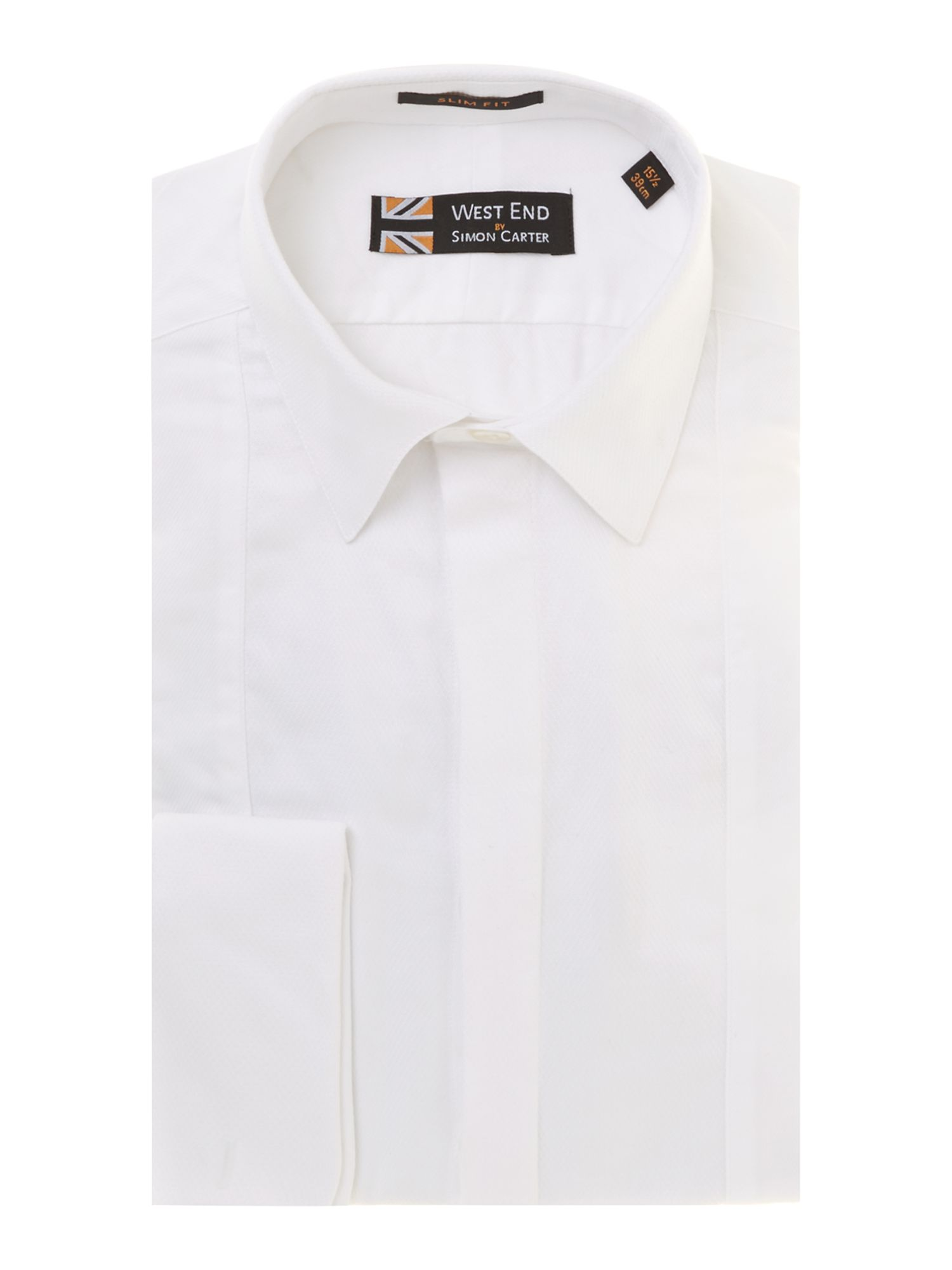 Textured white slim fit dinner shirt
