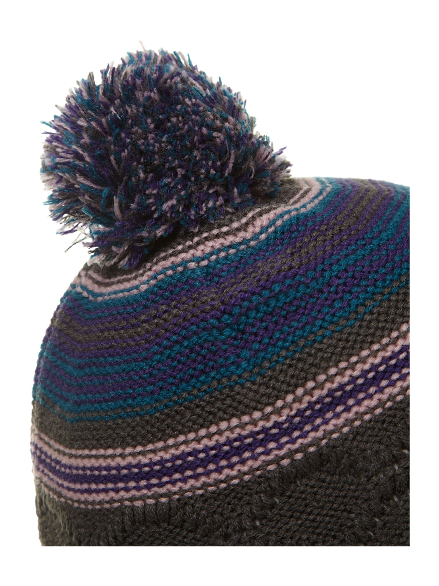 Stripey knitted beanie with pompom