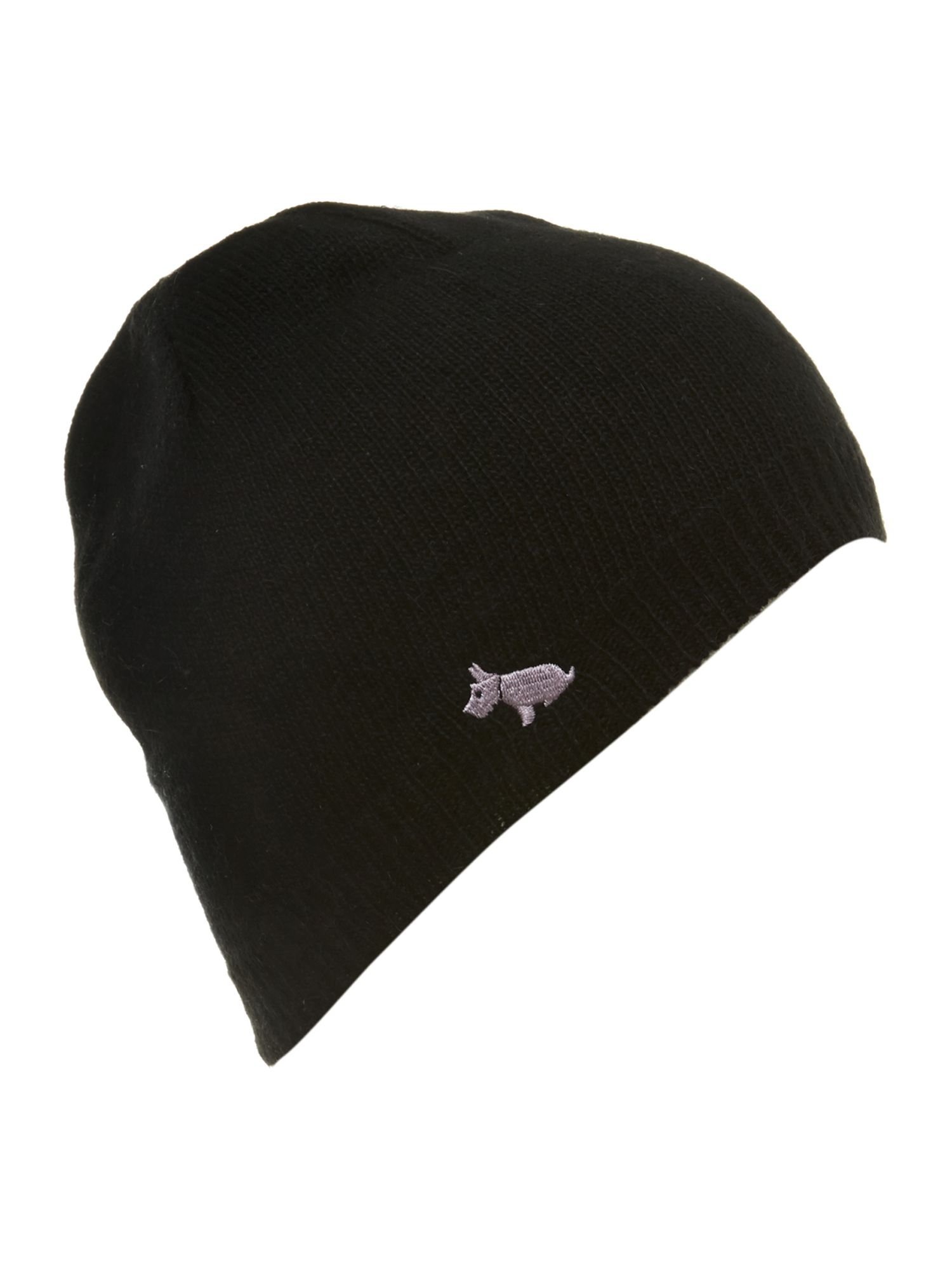 Knitted beanie with embroidered dog