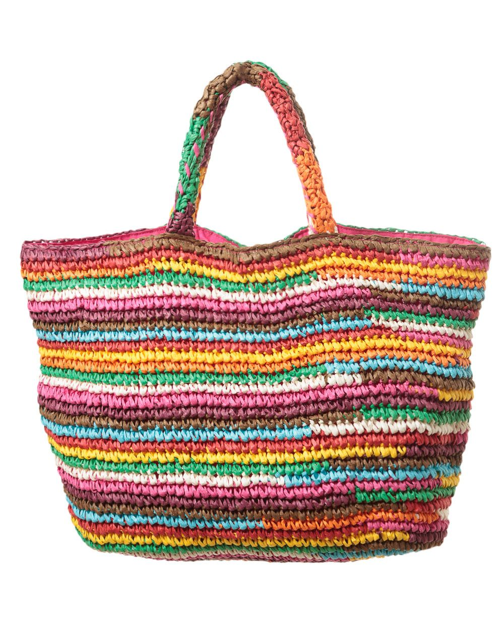 East Rainbow stripe beach bag, Multi-Coloured
