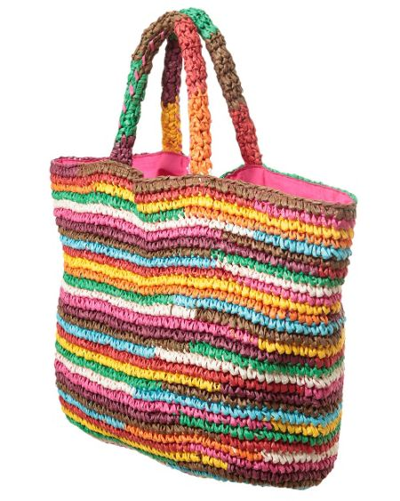 East Rainbow stripe beach bag