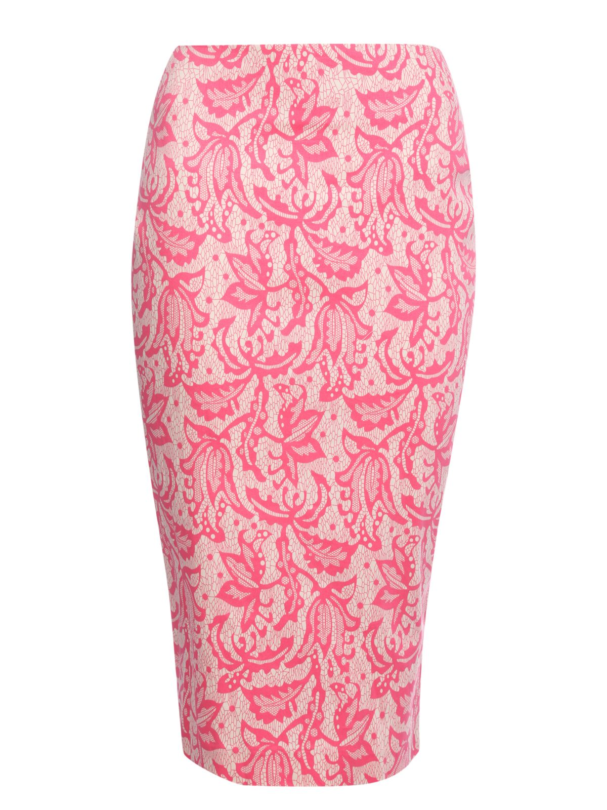 Lace print pencil skirt