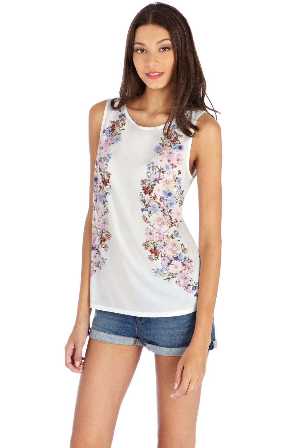 Mirror floral border shell top