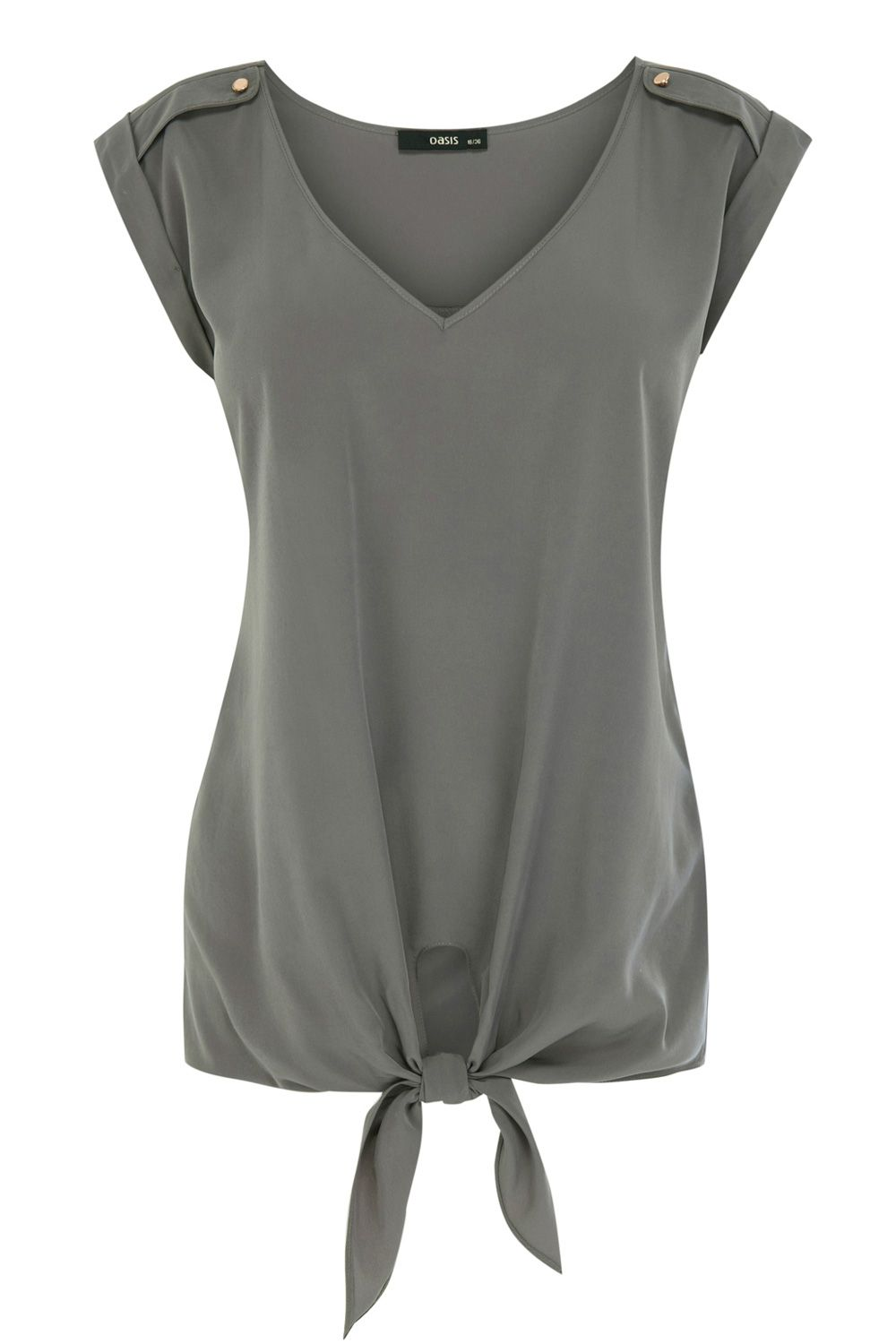 Button shoulder v neck top