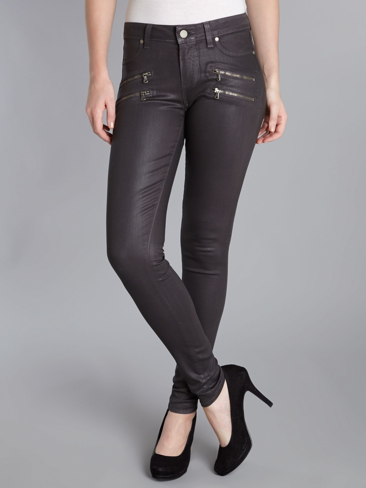 Edgemont skinny coated jeans in City Fog