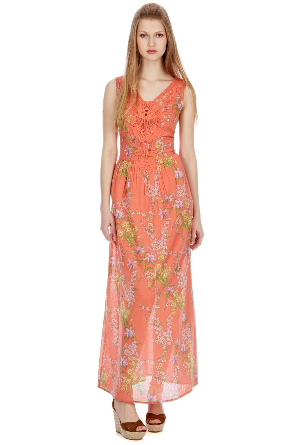 Botanical cotton maxi dress