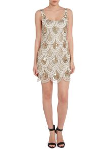 Angela scallop sequin shift dresS