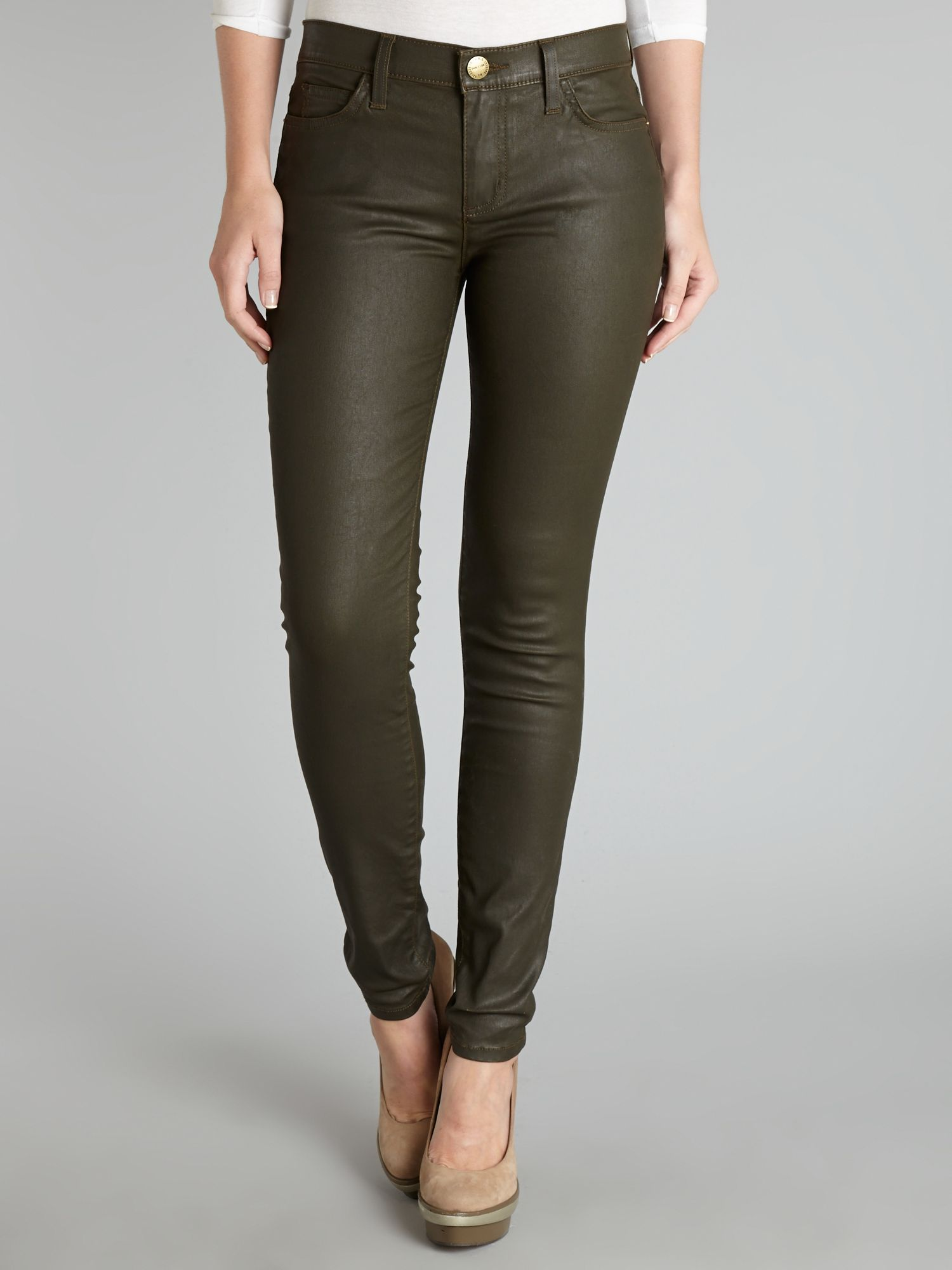 The Ankle Skinny coated jeans in Army Green
