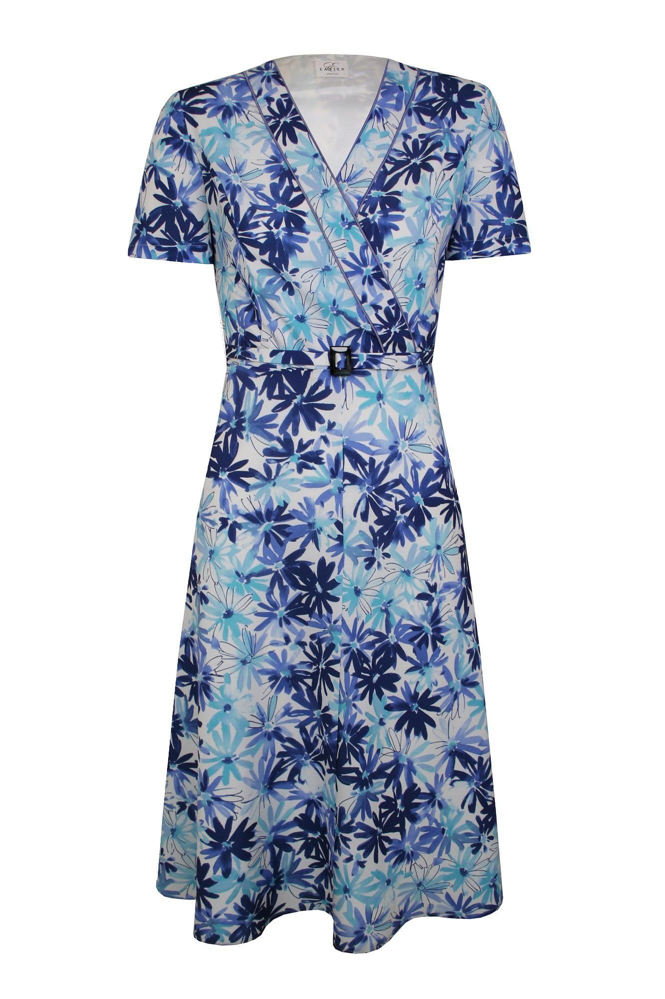 Eastex Marguerite print wrap dress, Blue