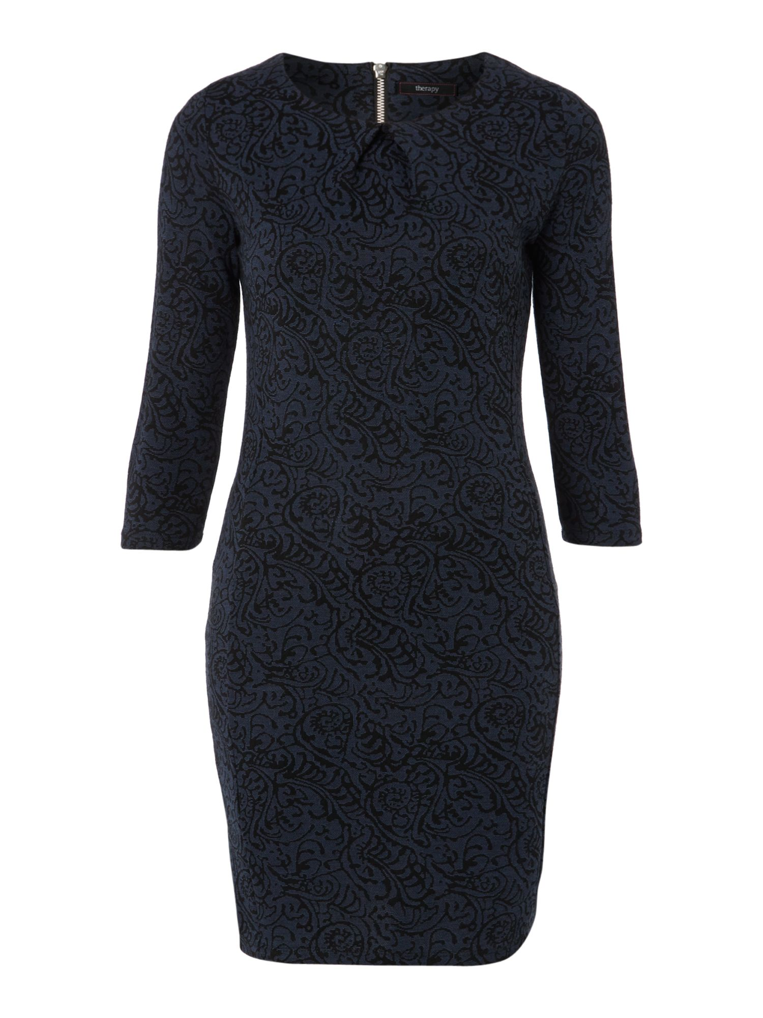 Brocade jacquard dress with sleeve