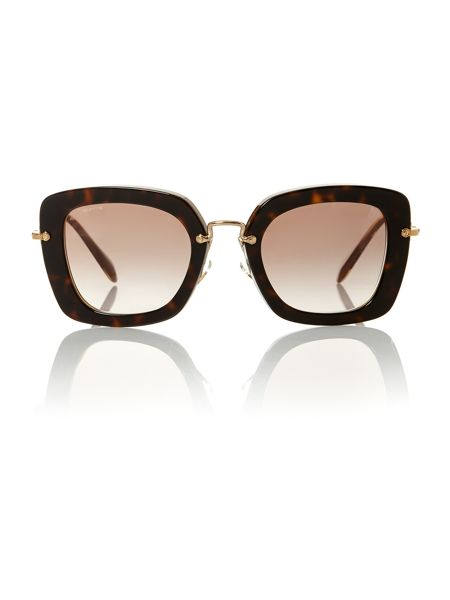Miu Miu Ladies MU070S havana sunglasses