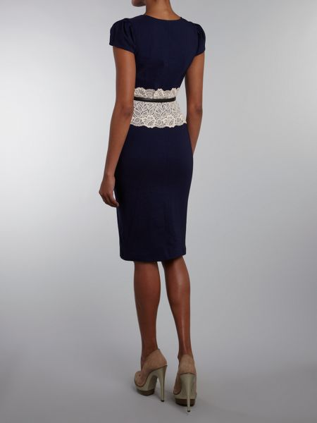 Paper Dolls Short sleeved lace middle midi dress