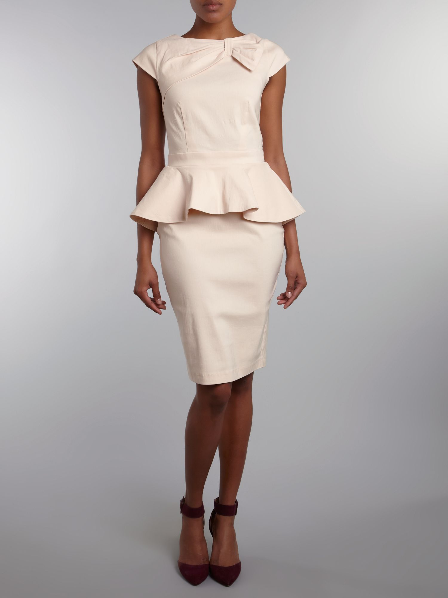 Gathered neck peplum midi dress