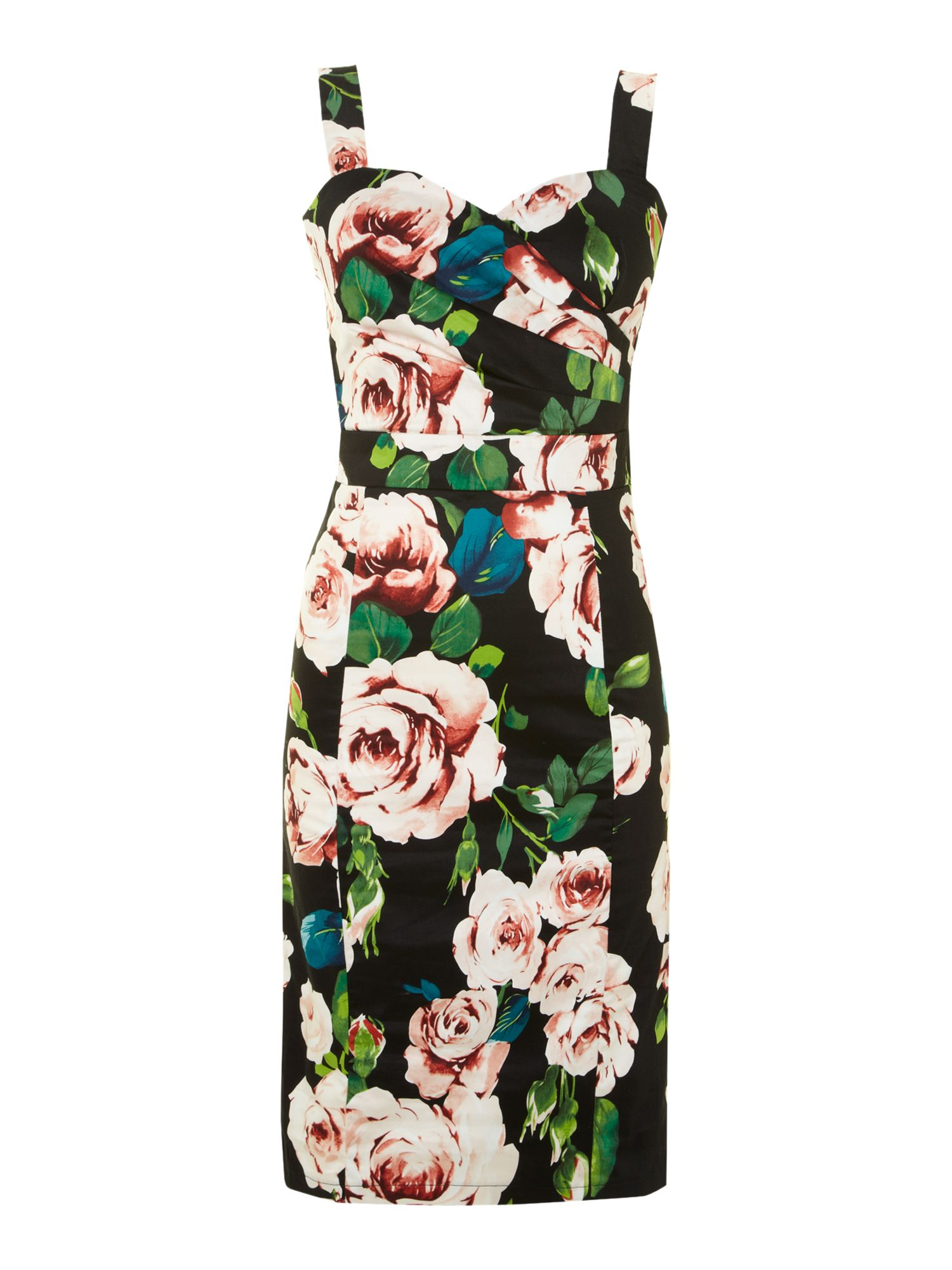Floral print sleeveless midi dress