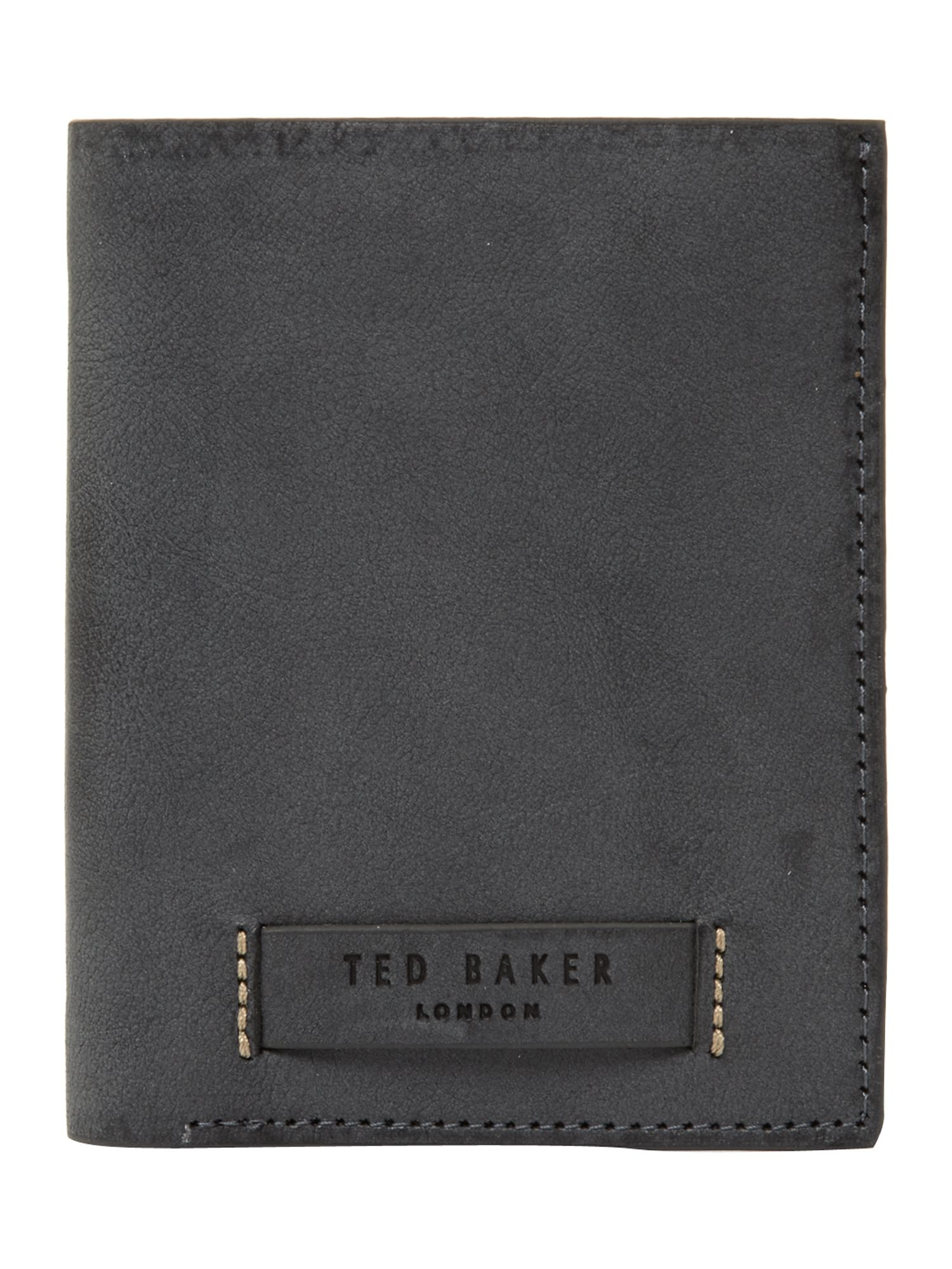 Raw edged tall bifold wallet
