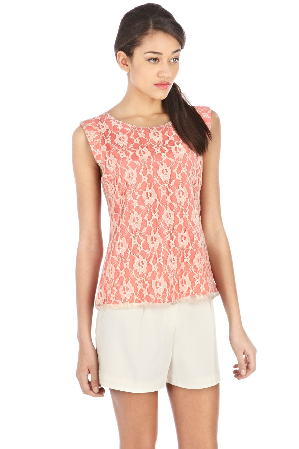 Lace neck trim shell