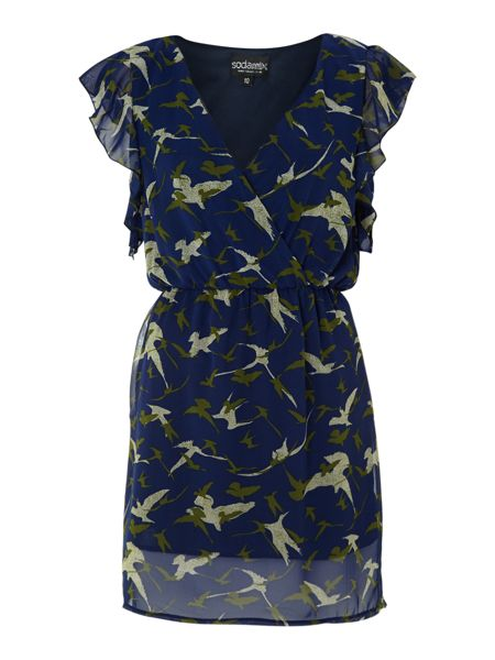 Sodamix Frill detail bird print dress