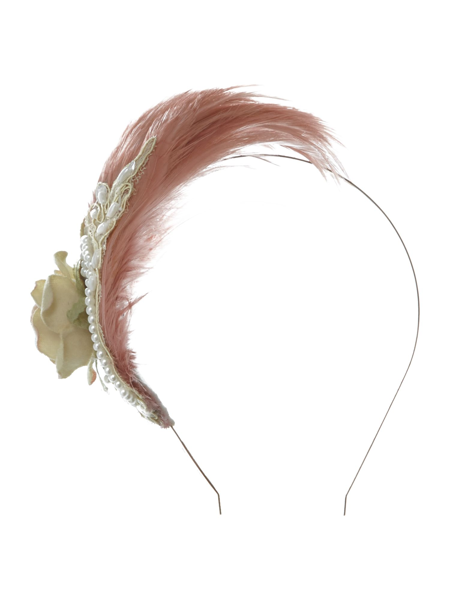 Feather flower and lace alice band