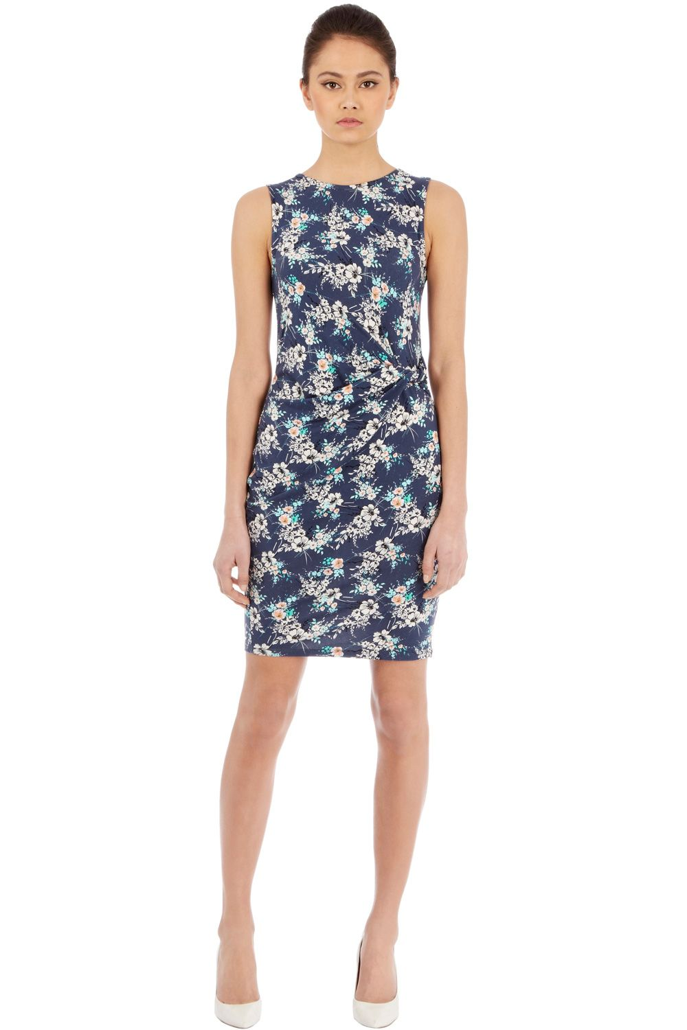 Sleeveless floral print wrap side dress