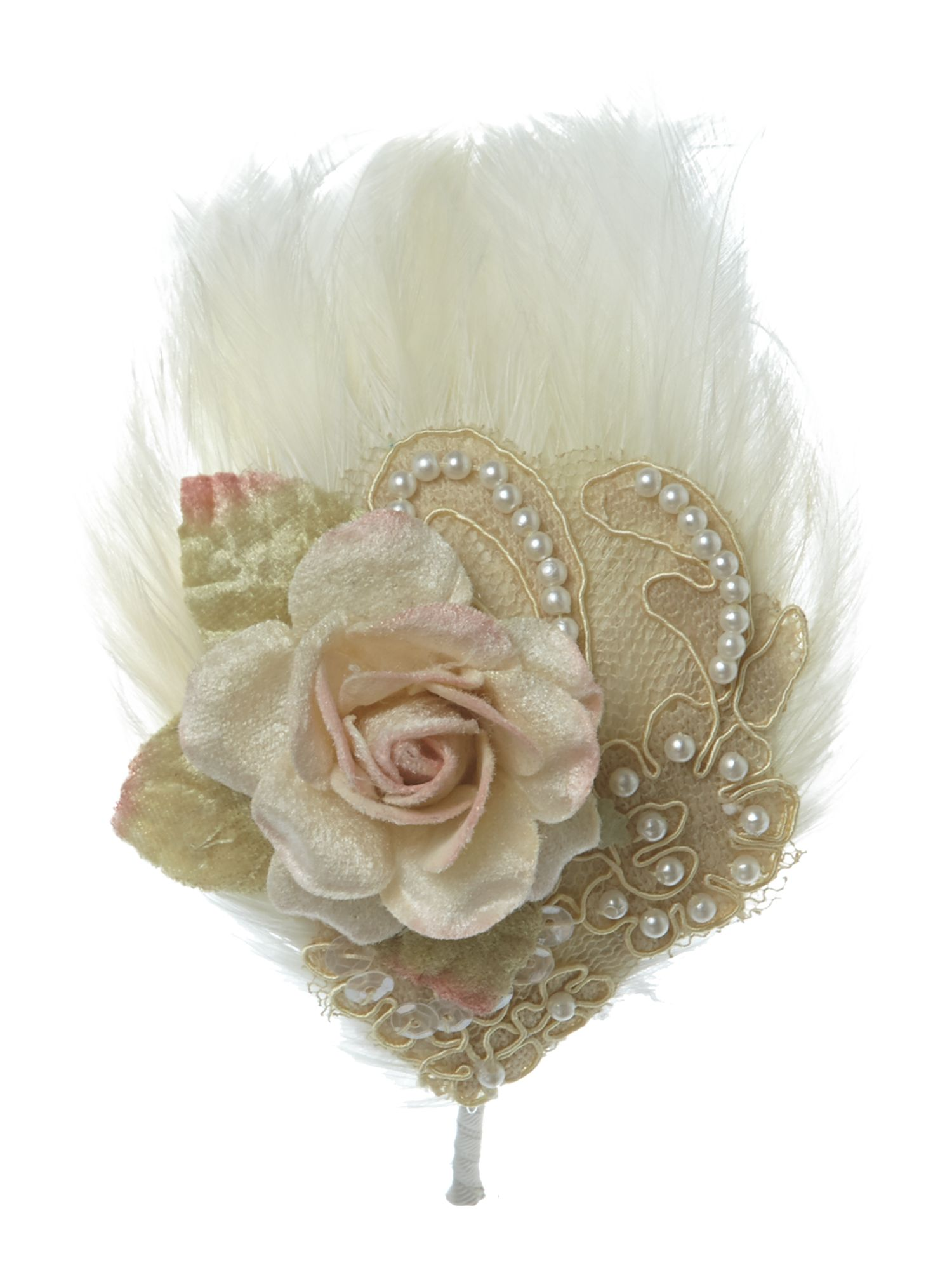 Cream feather flower headband