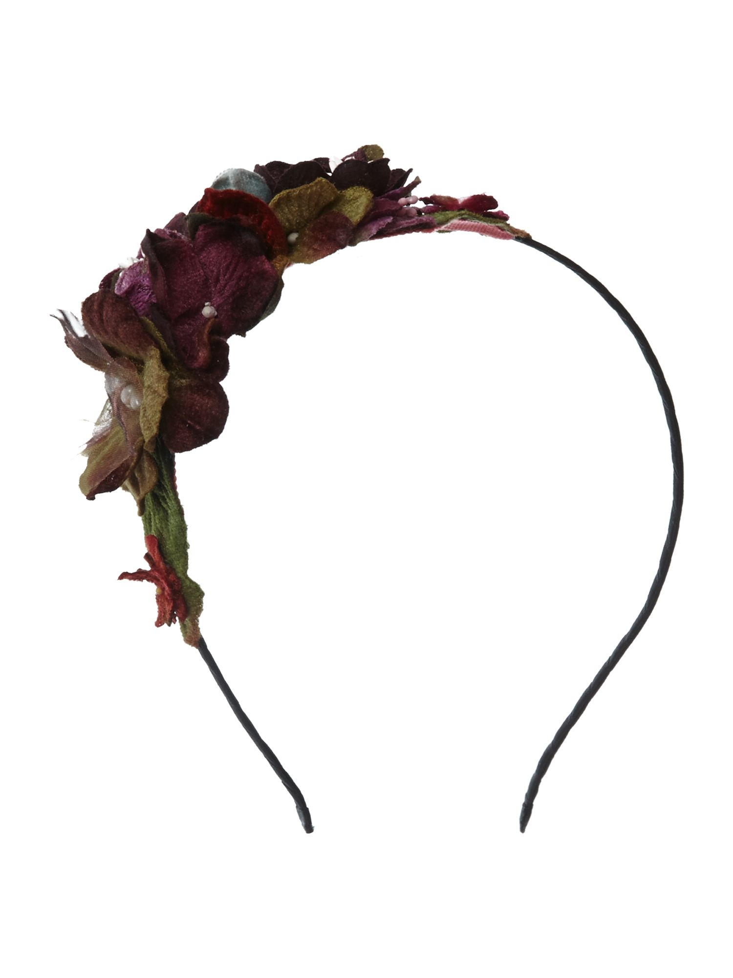 Purple velvet flower headband