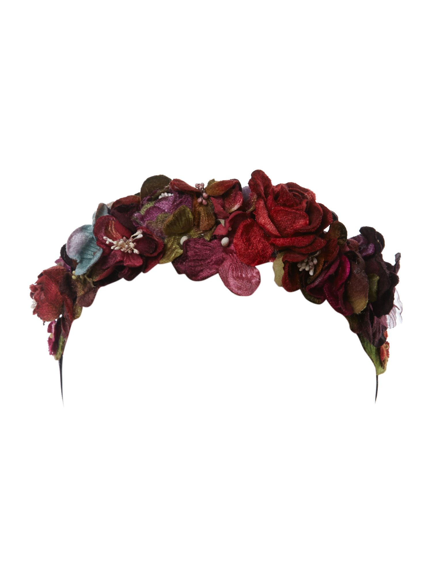 Berry velvet flower ribbon tie