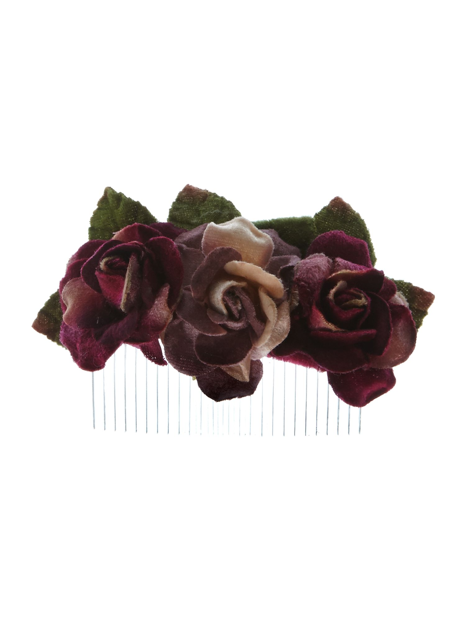 Purple velvet flower comb