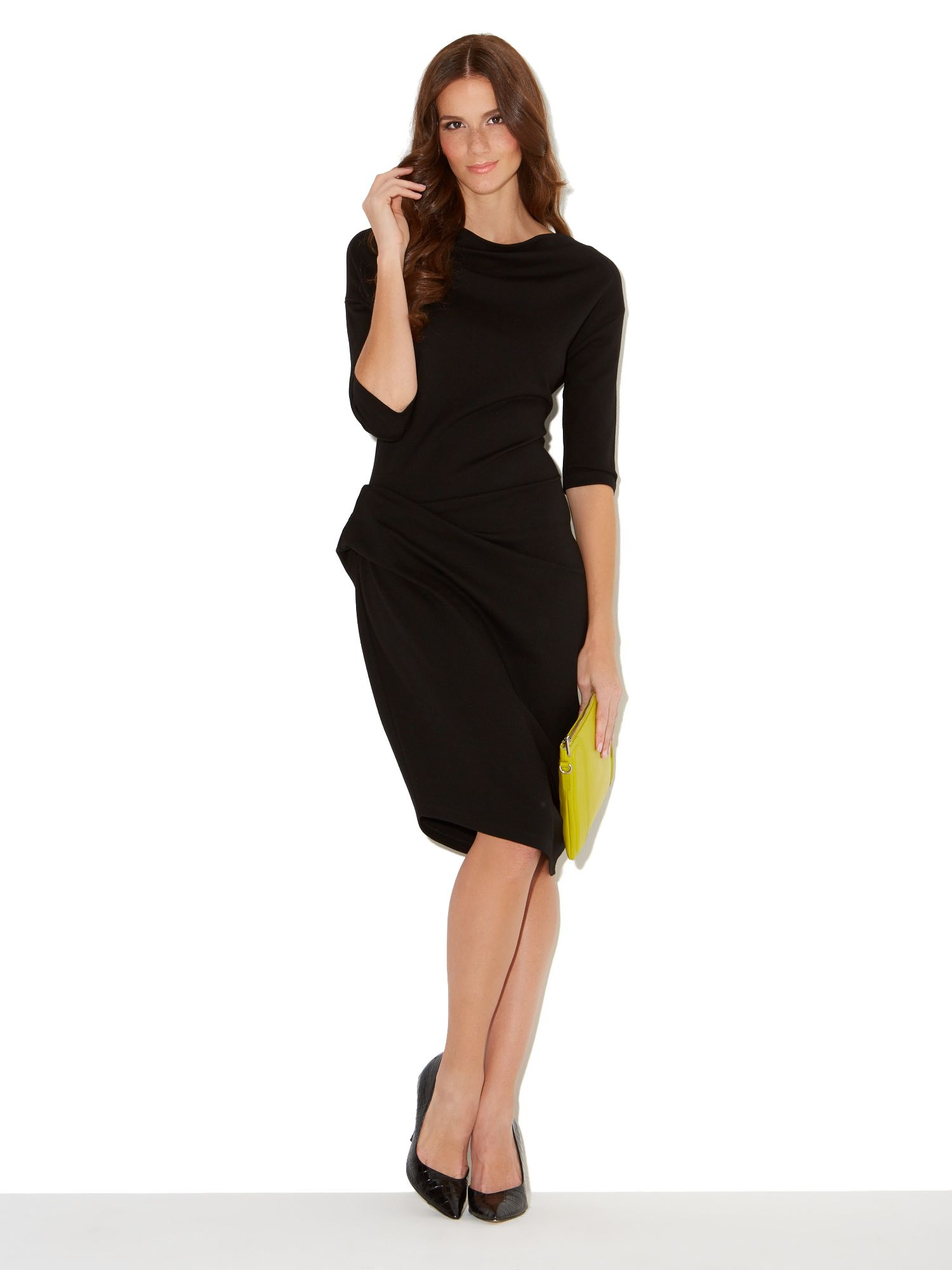 Long sleeve twist and tuck no brainer dress