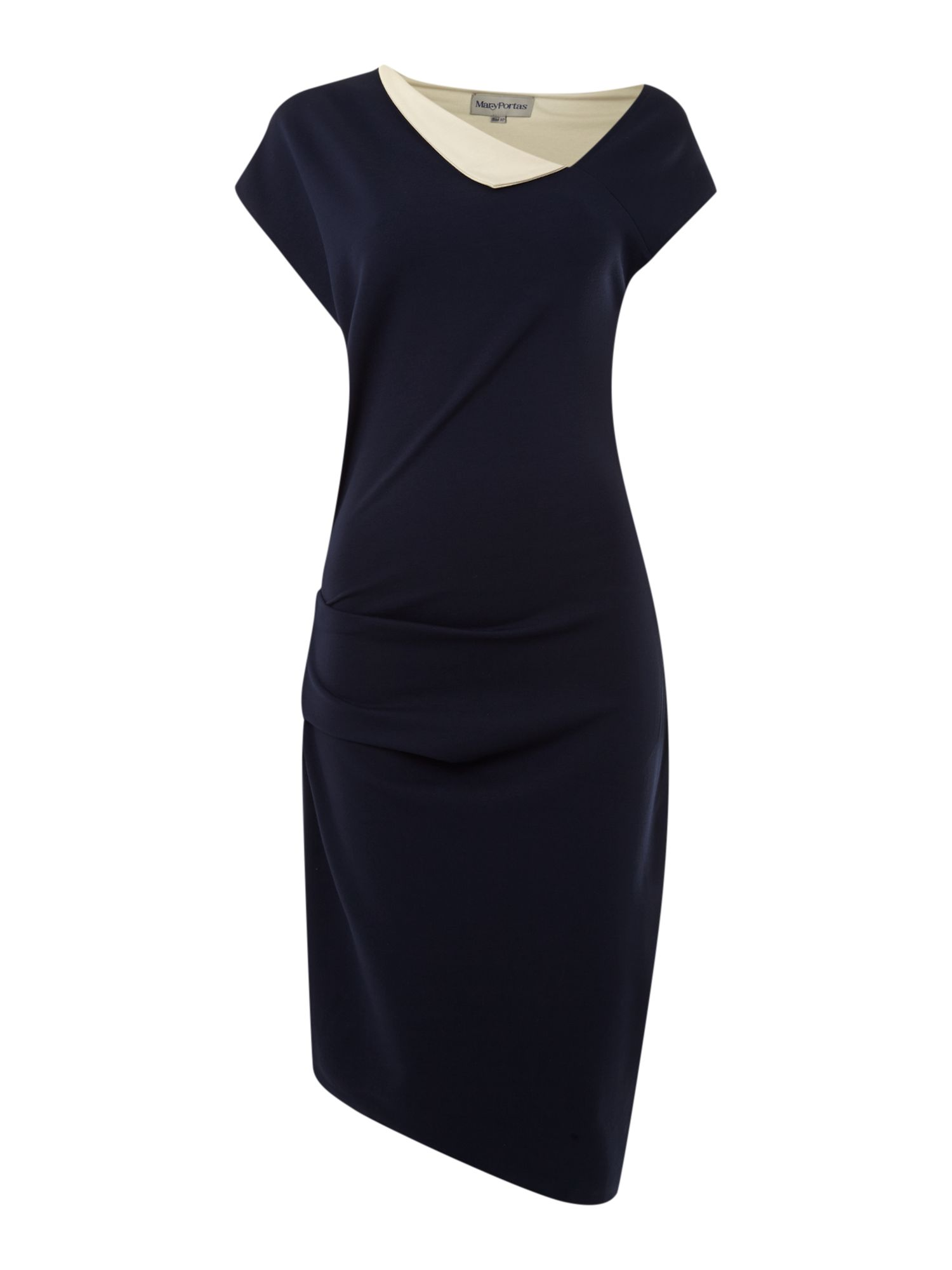 Contrast collar twist and tuck dress