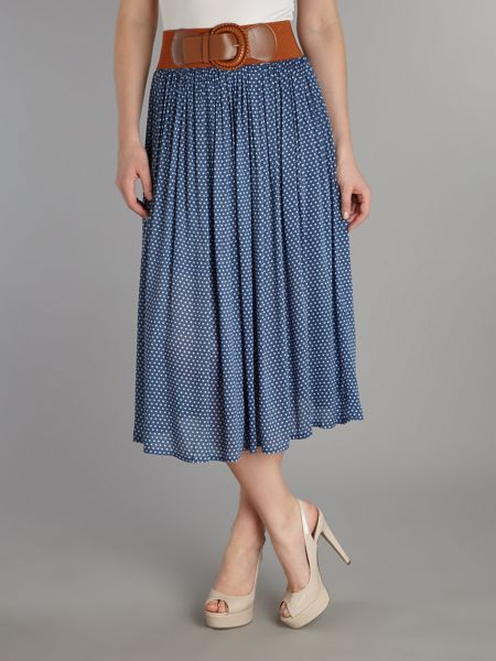 Izabel London Polka dot midi skirt