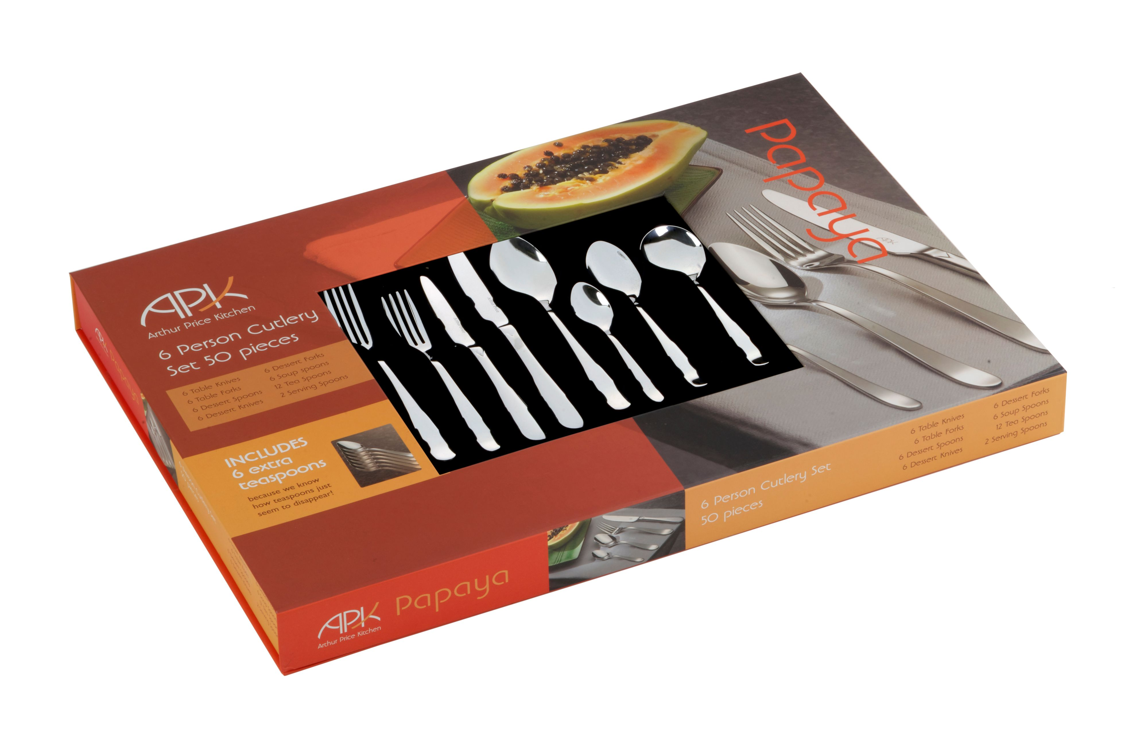 Papaya 50 piece 6 person boxed set
